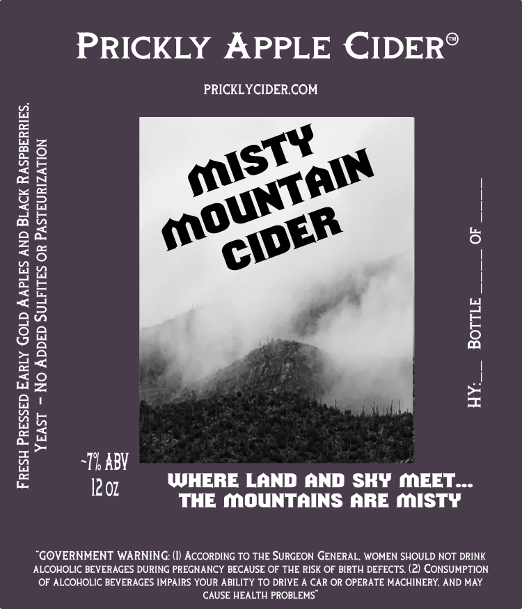 Misty Mountain Cider By Prickly Apple Cider