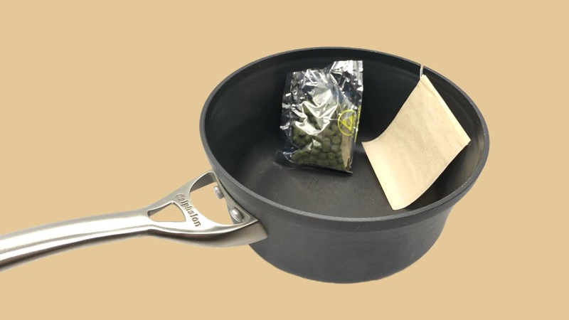 Brewing Hops for Hard Cider: Pan, Hops, Tea Bag