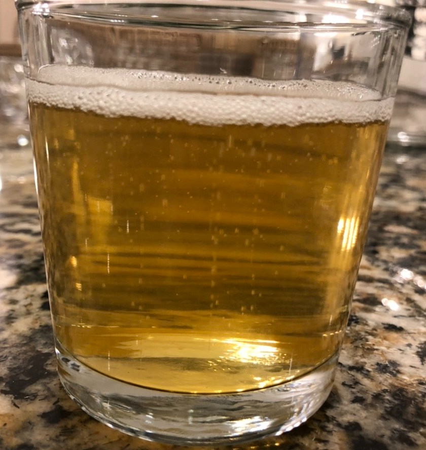 Hard Cider Sample: Clear and Bubbly