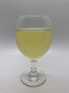 Lemon Lavender: A glass of hard cider.