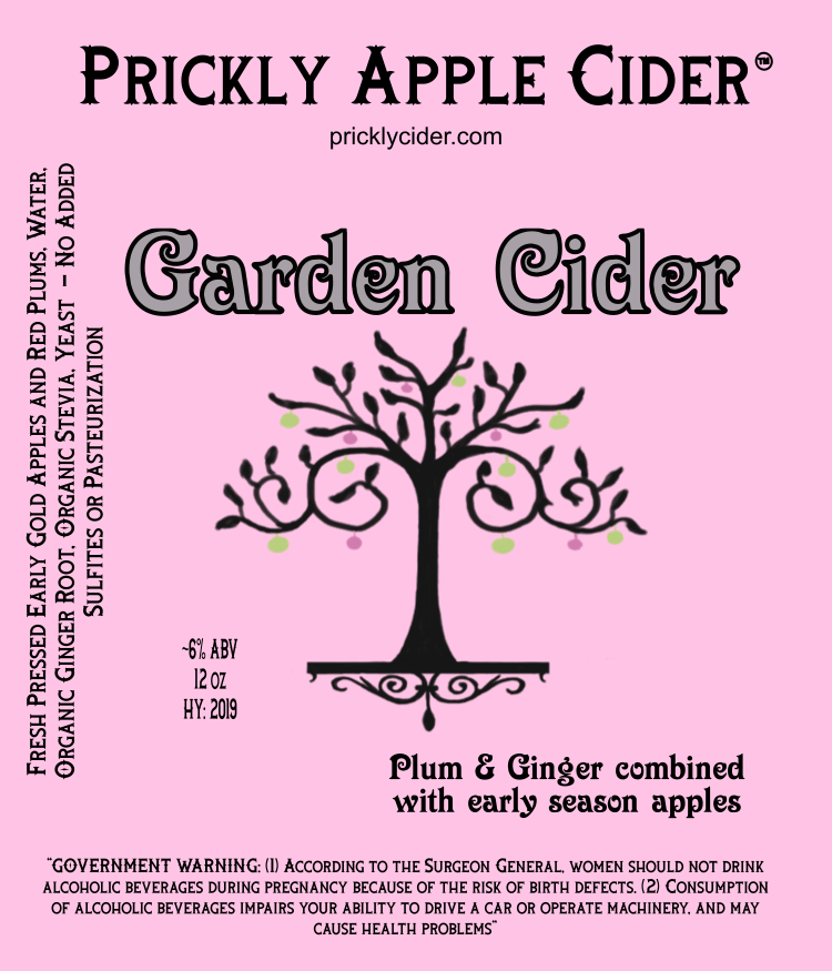 Garden Cider Label: A Plum and Ginger Adjunct Hard Cider