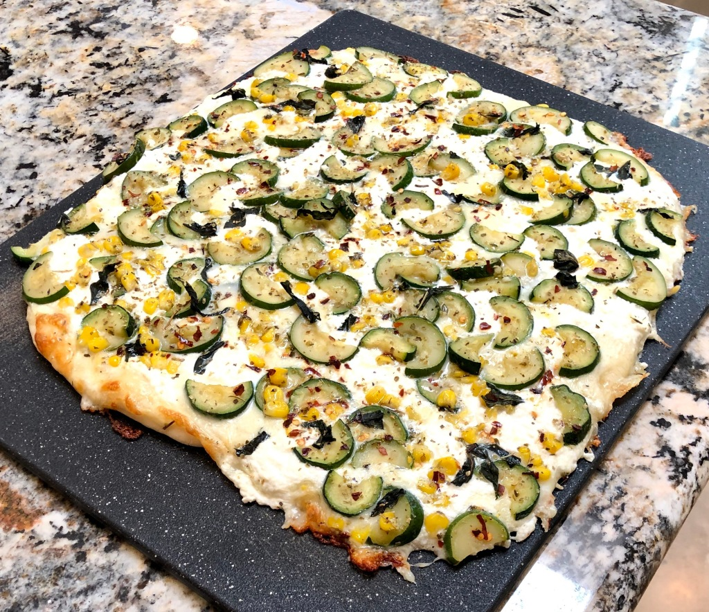 White Zucchini Corn Pizza