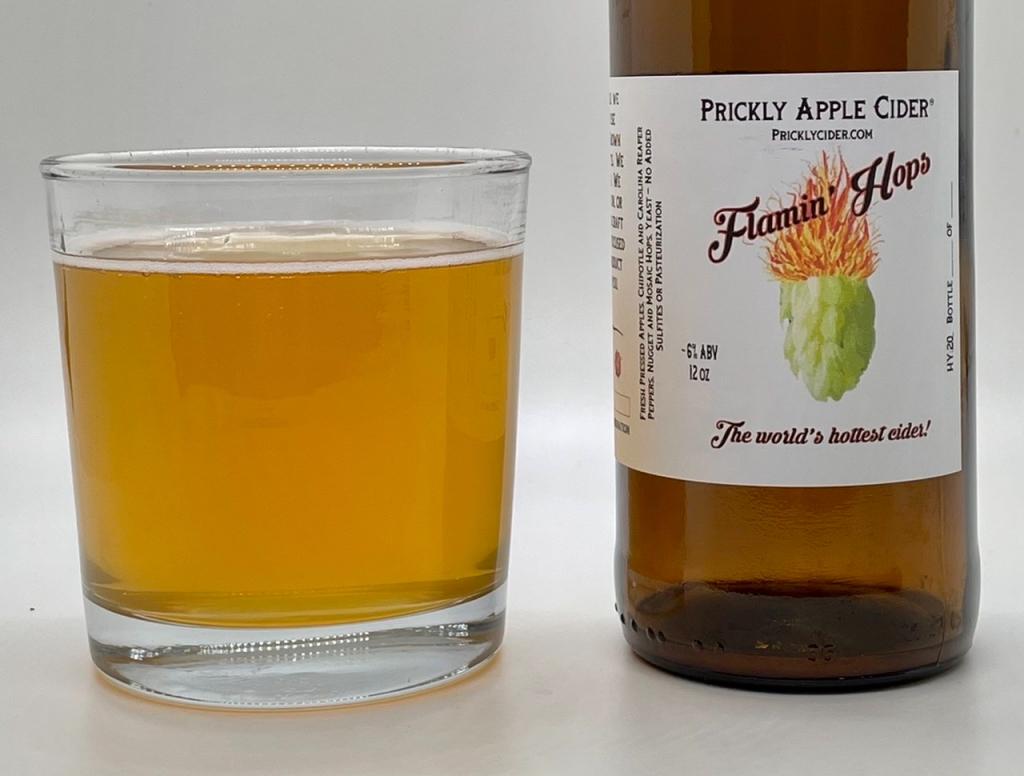 Flamin' Hops Cider: Bottle and glass.