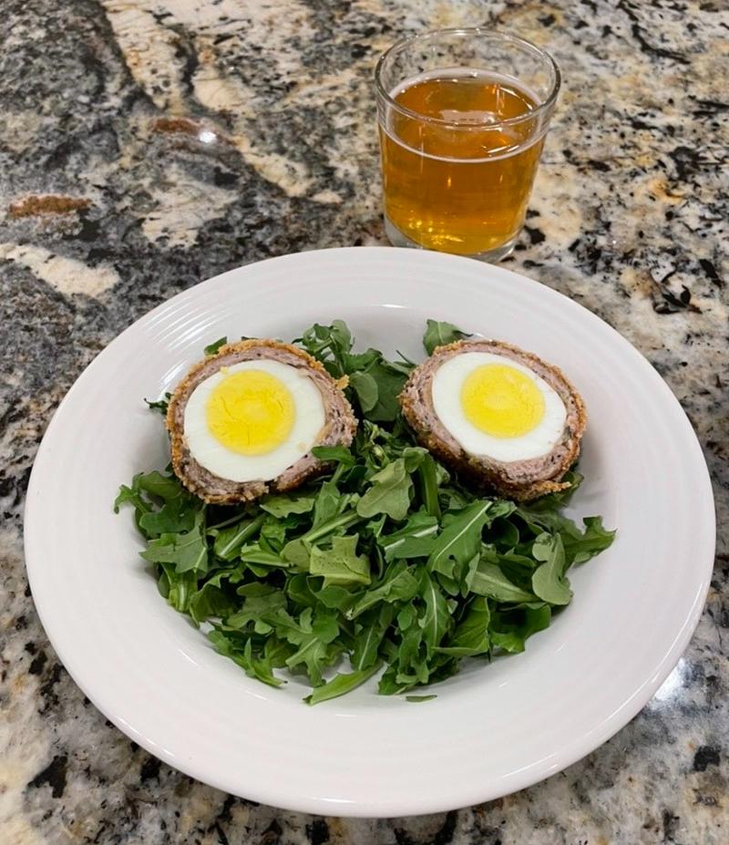 Scotch Egg on Arugula with Cider