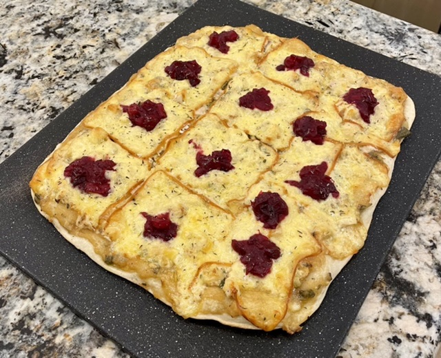 Thanksgiving Pizza: Turkey, Gravy, Dressing, and Cranberry