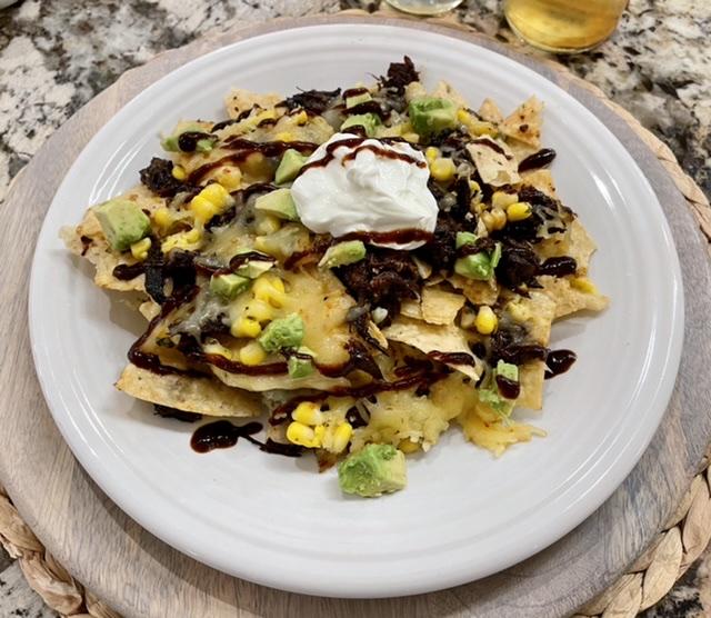 Nachos: BBQ Burnt Ends, Corn and Avocado