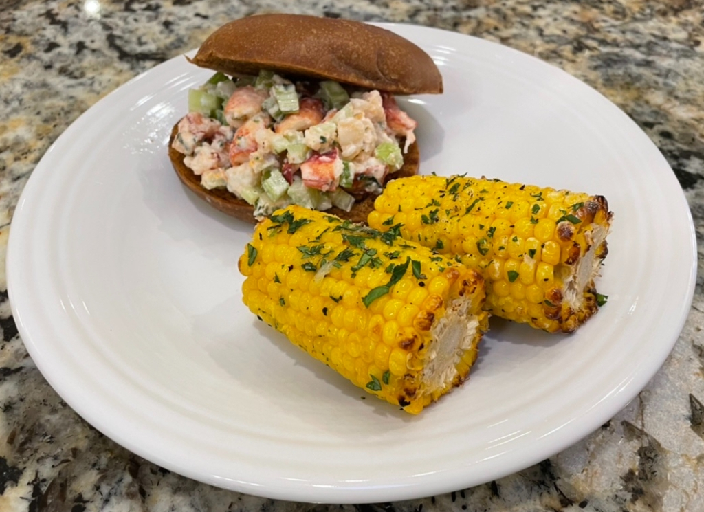 Lobster Roll and Roasted Mexican Corn