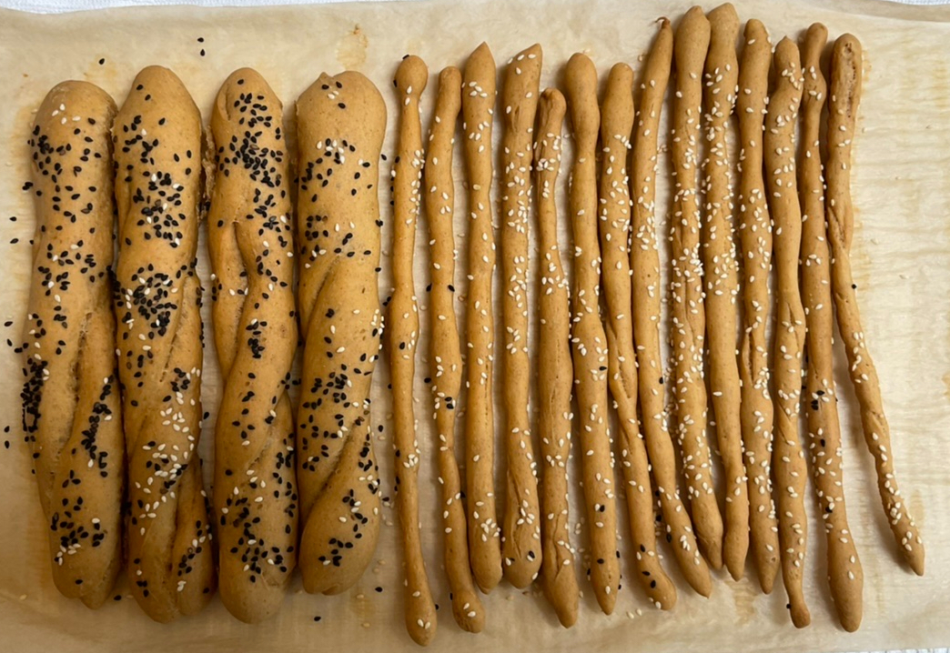 Standard and Petite Breadsticks With Sesame Seeds