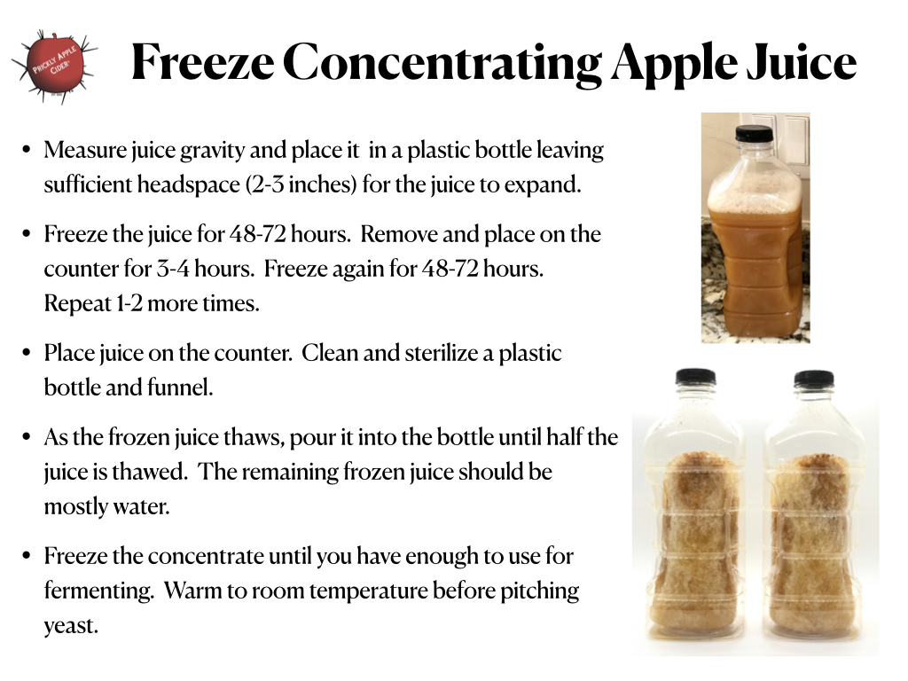 The steps to freeze concentrating apple juice.