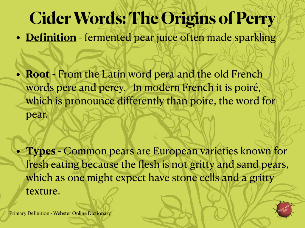 Cider Words - Perry